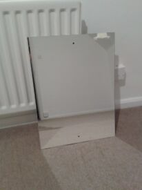 Rectangular mirror with Drilled Holes & Chrome Cap Wall Hanging Fixing Kit - excellent condition
