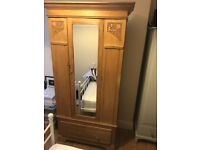 Solid Wood Wardrobe with Mirror, Shabby Chic