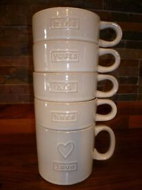 NEXT - His, Hers, Yours, Mine - Set of 4 Mugs - Brand New