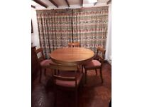 Dining table and chairs in pine
