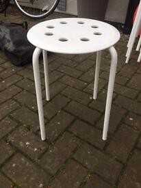White stools, stackable upto 6 avail.