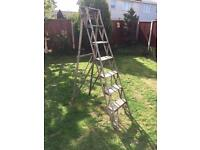 Vintage 1930s 7 step wooden stepladders shabby chic