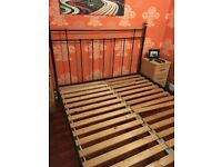 Metal and wood king size bed frame