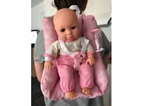 Baby doll back pack carrier and car seat