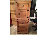Two pine Mexican bedside drawers