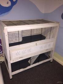 Double 2 tier indoor guinea pig / rabbit hutch cage