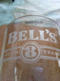 BELLS WHISKY GLASSES ADVERTISING THEIR 8 YEAR OLD WHISKY.