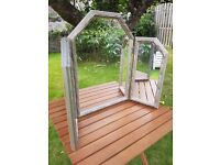Shabby Chic style silver wooden 3 way dressing table mirror
