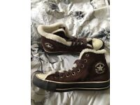 Brown fur lined converse - size 7