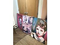 Bundle of Canvas Pictures Betty Boop Hepburn Marilyn Monroe
