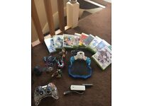 Xbox 360 games, Controller, Skylander pad and characters and wireless adapter