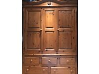 Solid pine large double wardrobe