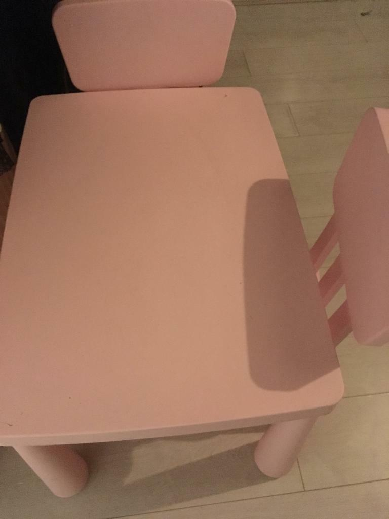 Ikea kids table and 2 chairs pink