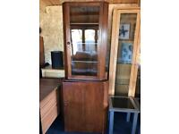 Glass cabinet with cupboard