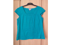Monsoon Cotton Turquoise top, size 16, £5