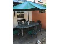 Galvanised metal table and 6 chairs + cushions + parasol Collect Shaldon, Teignmouth