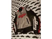 Furygan full leather race motorcycle jacket in Silver Red Black & white