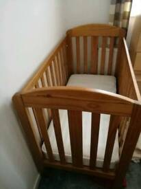 Mothercare cot bed with mattress and changing top ( Mamas&Papas)