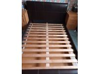 Leather Bed Frame - Brown - Double