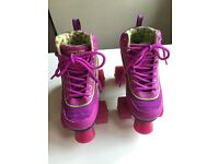GIRLS ROLLER SKATES (size UK 12, EUR 30.5) & PADS SET (size small, 4-9) - ONLY £30