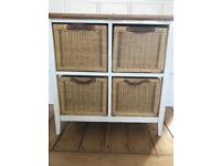 Small chest of drawers - wood/ white / wicker