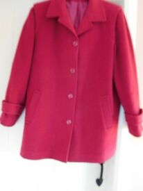 Ladies Red Wool Coat - size 16