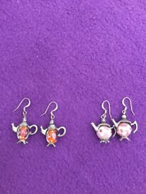 Quirky tea pot and coffee pot earrings for sale