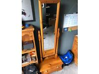 Pine mirror with drawer base