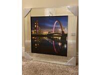 Glasgow City Clyde Arch Bridge Glass Picture Mirror Framed Liquid Art (55x55cm) – NEW