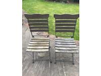 Garden Chairs Pair of French style iron and wood