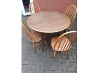 solid dining table with 4 chars can deliver