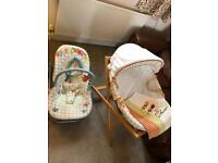 Mamas and Papas rocker and Moses Basket