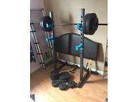 Mens Health Elite Active Plus Ultimate Workout Bench a pair of 2x 25kg Bowflex dumbbells
