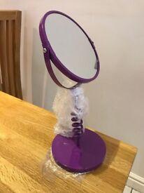 Funky adjustable freestanding mirror / magnifies NEW