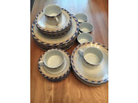 Blue, cream and white 6 piece set of crockery
