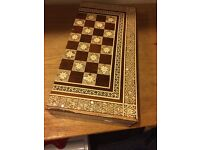 Abalone and shell inlaid chess box with bone pieces