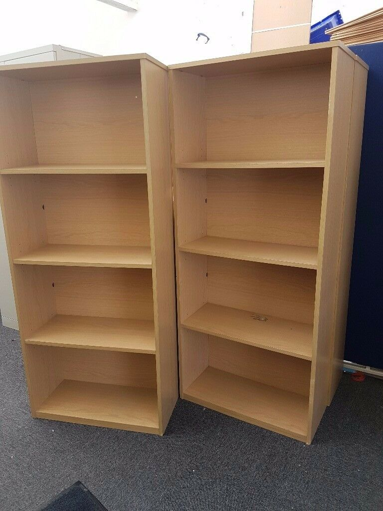 Bookcase Beech Finish 4 Compartments Shelves Home Office Storage x 2
