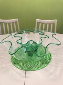 Large green glass centrepiece