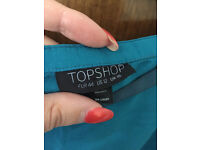 Topshop Teal Midi Skirt