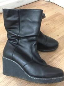 Next soft leather wedge boots
