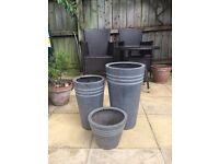 Garden Pots Grey x3