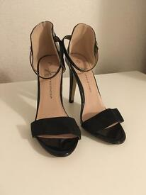Brand New Size 5 ANKLE STRAP HIGH HEEL SANDALS IN BLACK