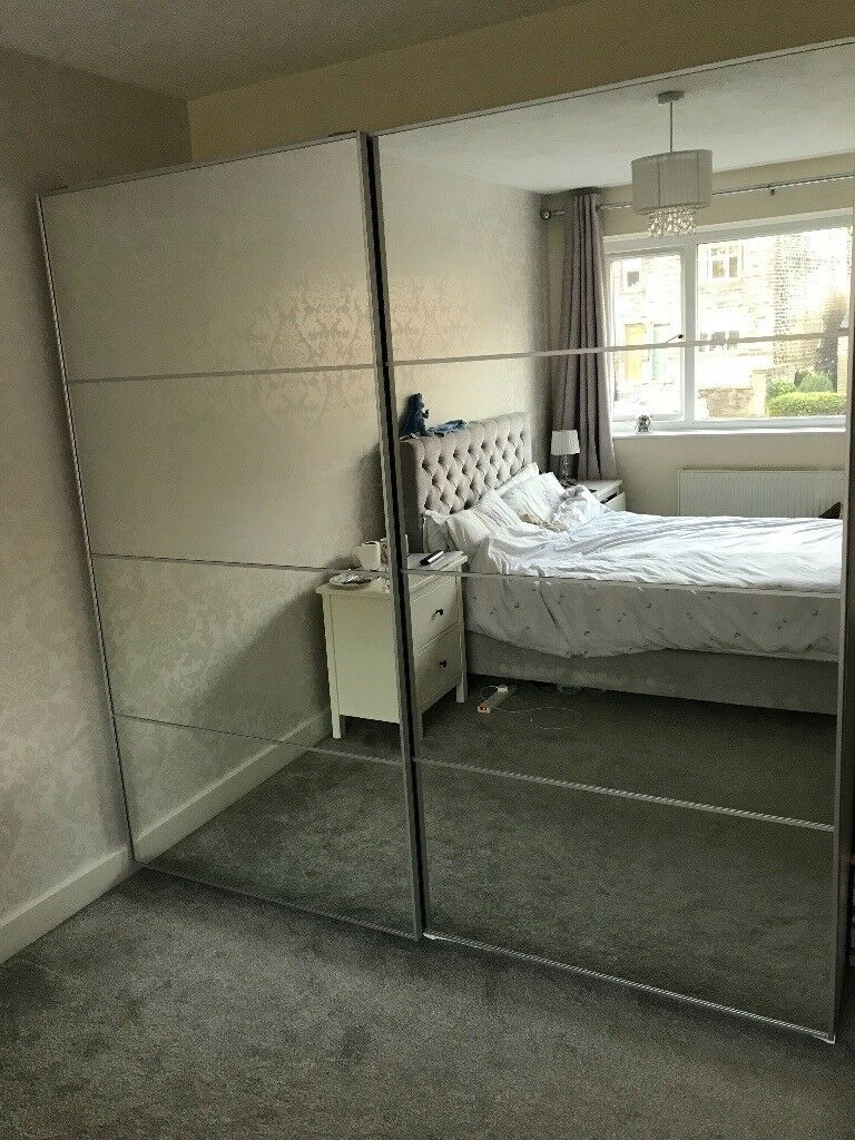 Double Sliding Door Mirrored Wardrobe Ikea Pax Like