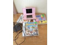 Pink ds and games with charger and ds pen