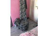 Black and white zebra print statement chair