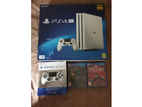 [Brand New] White PS4 Pro 1TB, Extra Controller + Death Stranding & Spiderman