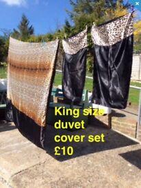 King size duvet cover set leapard print satin