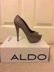 ALDO Gold/Bronze Metallic Vannice Platform Peep-toe Heels UK 4/ Eur 37 (NEW)