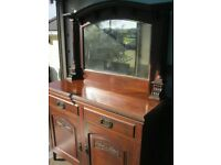 VINTAGE ORNATE MIRROR BACKED MAHOGANY SIDEBOARD. TOP DETACHABLE. VIEWING/DELIVERY AVAILABLE