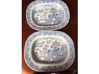 Vintage oriental design meat plates. Set of 2